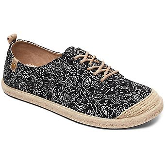 Roxy flora lace up sapatos deck em preto