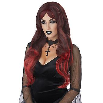 Color Bleed Blended Black Red Gothic Devil Vampire Witch Womens Costume Wig
