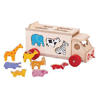 Bigjigs Toys Wooden Animal Shape Lorry Sorter Pull Along Educational Sorting