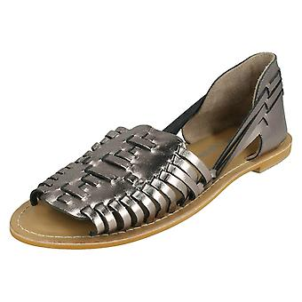 Ladies Leather Collection Flat Weave Sandals F00145 - Pewter Leather - UK Size 3 - EU Size 36 - US Size 5