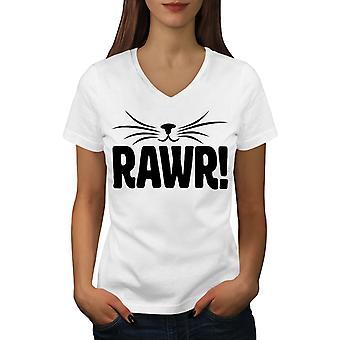 Rawr Kissa Funy Naisten WhiteV-Neck T-paita | Wellcoda, mitä sinä olet?