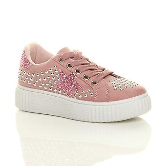 Ajvani girls flatform star studded party trainers pumps shoes