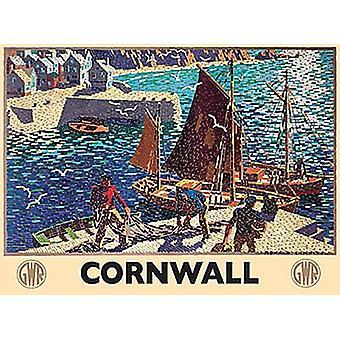 Cornwall Harbour Gwr mosaiikki teräs allekirjoittaa 200 Mm X 150 Mm