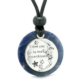 月にあなたを愛するし、戻って魔法幸運のメダリオンお守りソーダライト調整可能なネックレス