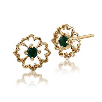 Gemondo 9ct Gelb Gold 0,12 ct Floral Smaragd Ohrstecker