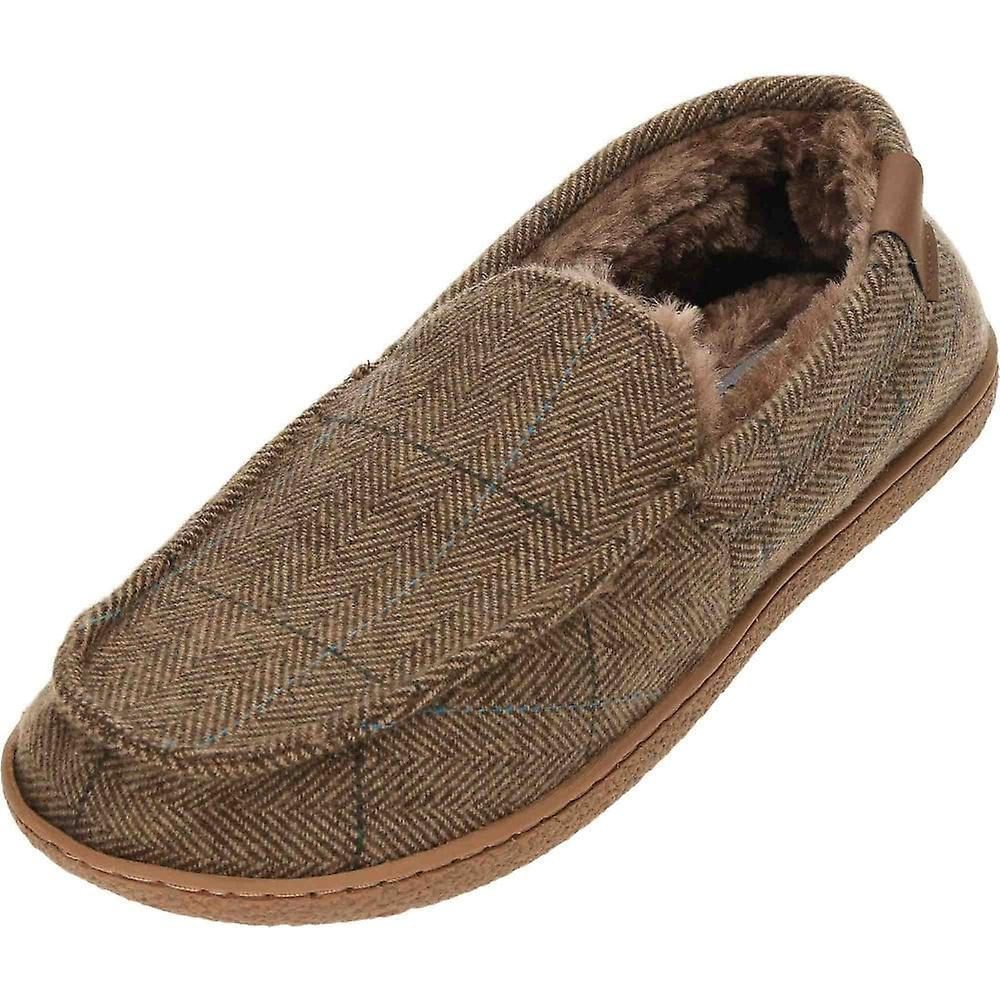 Cushion-Walk Brown Tweed Warm Lined Moccasin Slippers
