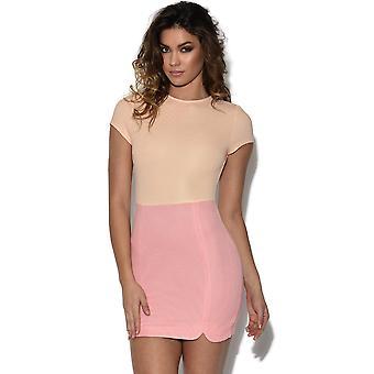 ZELDZAME perzik en roze Mini jurk