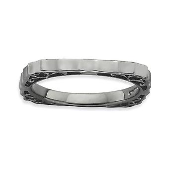 2.25mm 925 Sterling Silver Ruthenium plating Stackable Expressions Polished Black plate Square Ring Jewelry Gifts for Wo