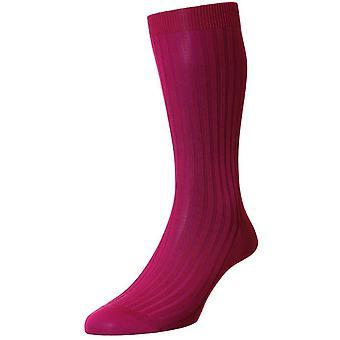 Pantherella Danvers katoen sokken in Schotse draad - Fuchsia