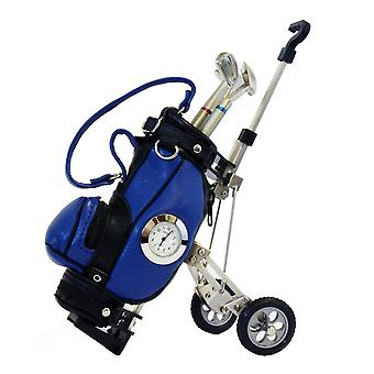 Gift Time Products Golf Cart and Pens Desk Clock - Blue/Silver