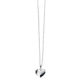 Elementen zilver gehamerd hart medaillon - zilver