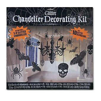 Deco set negru Halloween cameră decorare agățat decorare 3-D sclipici