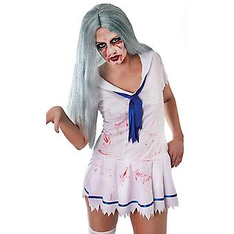 Bnov Zombie Lady Wig Long Grey/Green