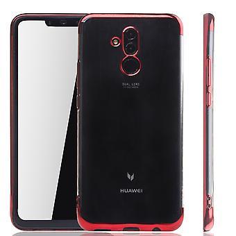 Mobil skal till Huawei Mate 20 Lite röd - klart - TPU Silikon case bakstycket skyddsfodral i transparent / glansig edge röd