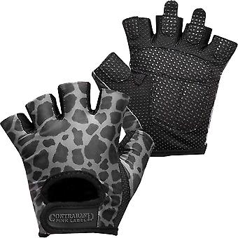Contraband Sports 5297 Pink Label Leopard Weight Lifting Gloves - Charcoal Gray
