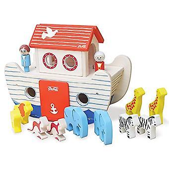 Índigo Jamm Noah s Ark, brinquedo de madeira com telhado removível, personagens e animais