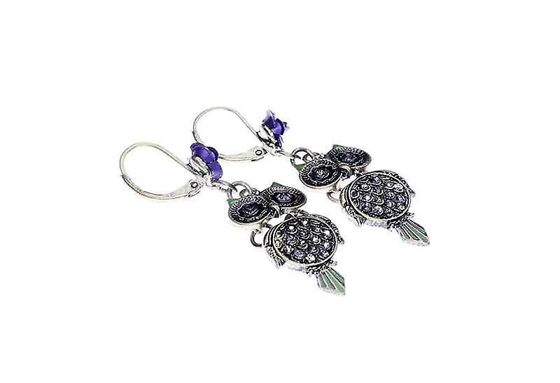 Unique Oxidized Fashion Owling Wisdom Dangle Drop Earrings