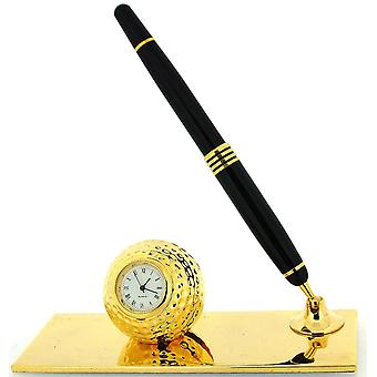 Miniature Golf Ball Card Holder & Pen Novelty Collectors Clock Gift Set IMP74