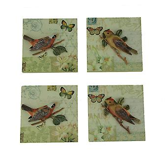 Colorful Ceramic 3D Birds On Branches Wall Decor Set of 4
