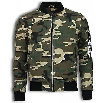 Military Biker jacket - Bomber Jack Cotton - Green