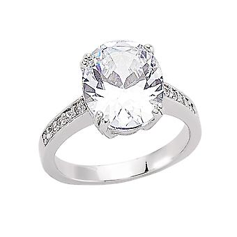 Jewelco London Rhodium Plated Silver Oval and Round Cubic Zirconia Shoulder-Set 4 Claw Solitaire Engagement Ring