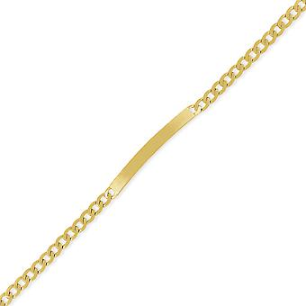 Jewelco London Ladies 9ct Yellow Gold 5mm Square Curb Identity ID Bracelet 7.25'quot;
