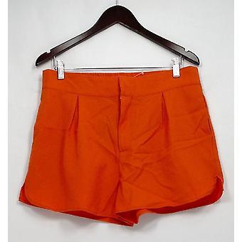 Harlowe & Graham Shorts Textured Front Zip w/ Pockets Orange