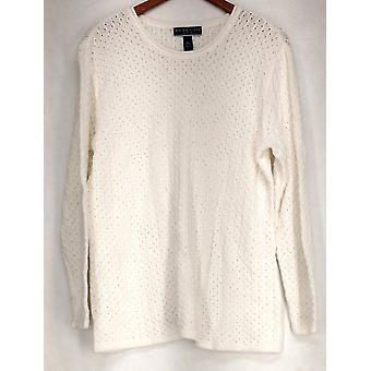 Karen Scott Plus Sweater Long Sleeved Scoop Neck White Womens