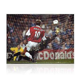 Dennis Bergkamp Signed Arsenal Photo: The Leicester Hat Trick