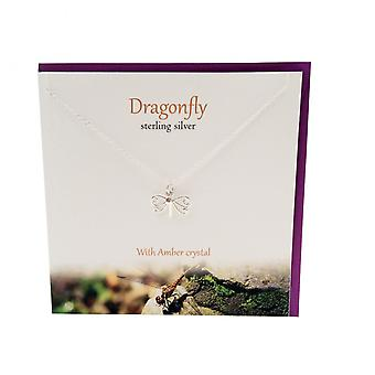 The Silver Studio Dragonfly with Amber Cyrstal Pendant Card