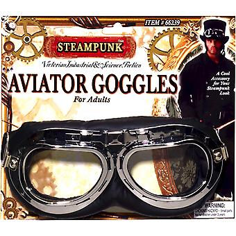 Steampunk Aviator Victorian Industrial Men Costume Black Goggles