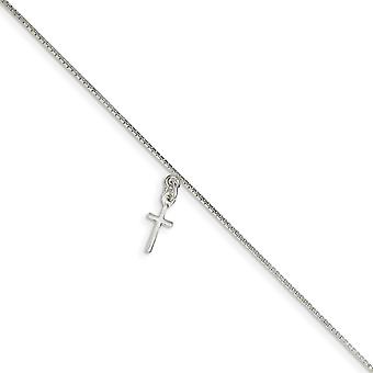 925 Sterling Silver Polished Solid Religious Faith Cross on Box Chain Anklet Spring Ring Jewelry Gifts for Women - Lengt