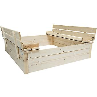 Charles Bentley Kids Children's Square FSC Wood Sand Pit Avec bancs de siège