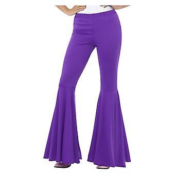 Womens paars laaide broek 70s Fancy Dress accessoire