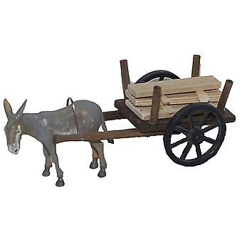 Grey donkey with wooden cart ladder cart for Christmas crib nativity scene nativity accessories