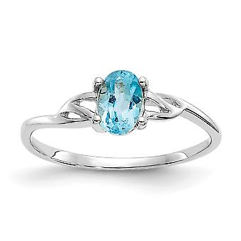 10k White Gold Oval Polished Blue Topaz Ring Size 6 Jewelry Gifts for Women