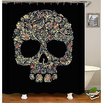 Floral Pattern Skull Shower Curtain