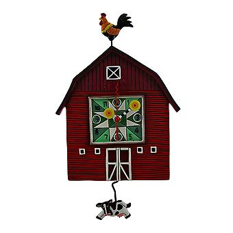 Allen Designs Red Barn Yard Wall Clock with Cow Shaped Swinging Pendulum