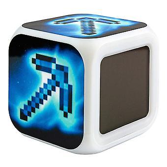 Minecraft Digital Alarm Clock - Pickaxe