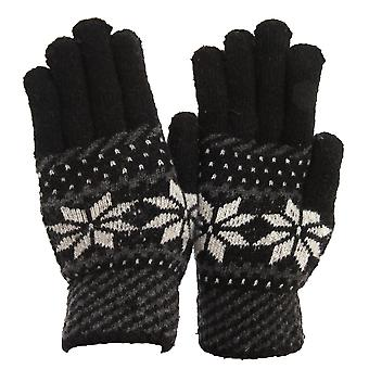 FLOSO Mens Knitted Fairilse Winter Gloves With Wool