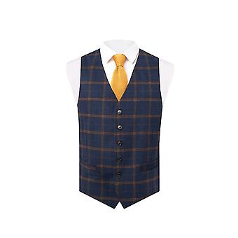 Dobell mens Navy Tweed gilet regular fit roest controle