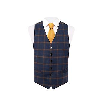 Dobell Mens Navy Tweed Waistcoat Regular Fit Rust Check