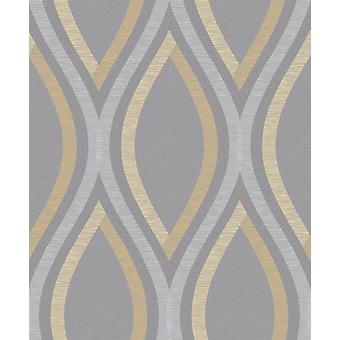 Strata Geometric Curve Wallpaper Grey Silver Yellow Textured Embossed Grandeco