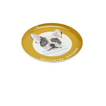 Joules Single Porcelain Printed Side Plate - Gold Dog
