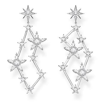 Thomas Sabo Sterling Silver Thomas Sabo White Large Zirconia Magic Star Constellation Earrings H2085-051-14
