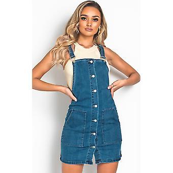 IKRUSH נשים לונה כפתור ג'ינס מיני שמלה