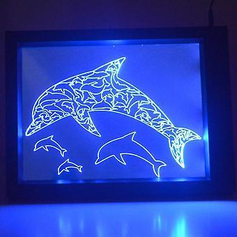 Dolfijnen kleur veranderende RC LED spiegel licht Frame