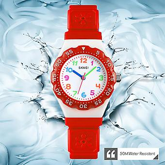 Skmei Kids Boys Girls Children First Watch Easy Tell Time Analogue Learning Red UK