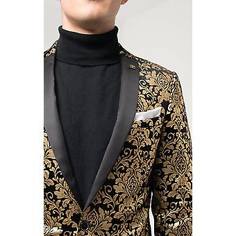 Twisted Tailor Mens Black Tuxedo Jacket Skinny Fit Gold Floral Jacquard Contrast Lapel