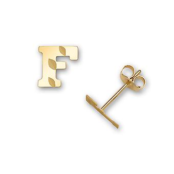 14k Yellow Gold Letter Name Personalized Monogram Initial F Stamping for boys or girls Earrings Measures 6x6mm